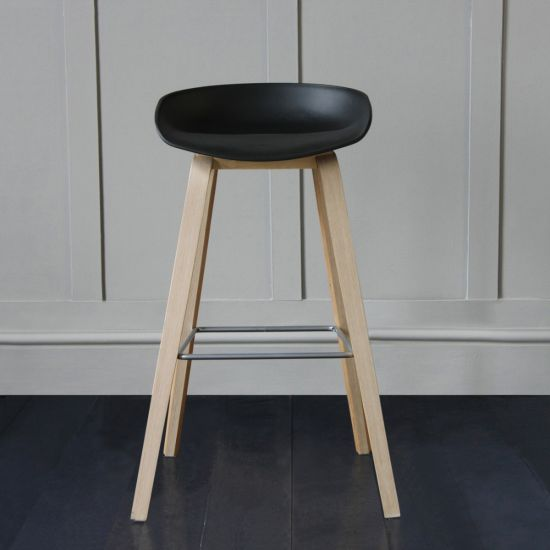 Shoreditch Scandinavian / Nordic Style Bar Stool, Black, 76cm