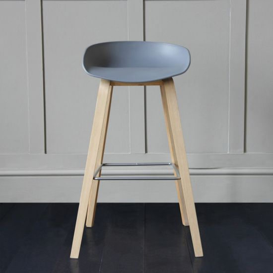 Shoreditch Scandinavian / Nordic Style Bar Stool, Grey, 76cm