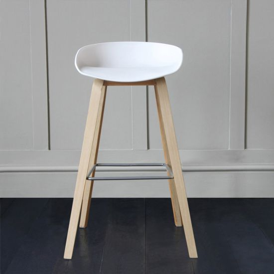 Shoreditch Scandinavian / Nordic Style Bar Stool, White, 76cm