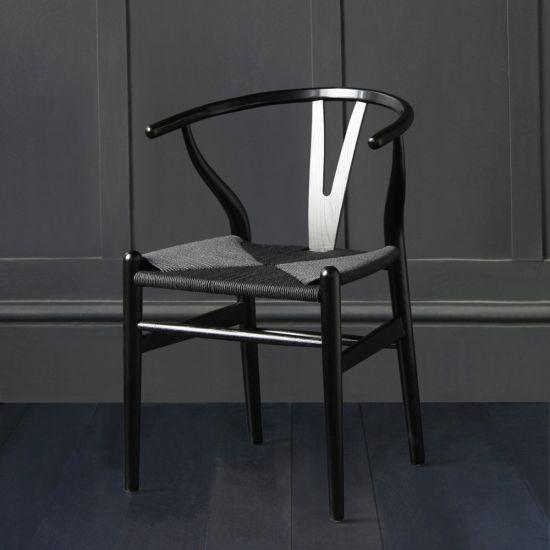 Hans Wegner Wishbone Chair, Black Ash, Black Paper Coil Seat