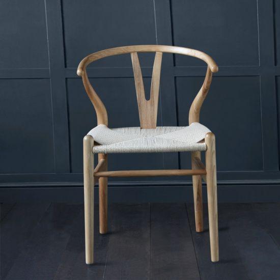 Hans Wegner Wishbone Chair, Natural Ash, Natural Paper Coil Seat