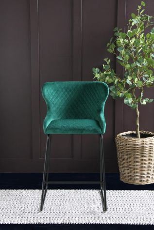 Casino Cocktail Bar Stool in Forest Green Velvet - 66cm