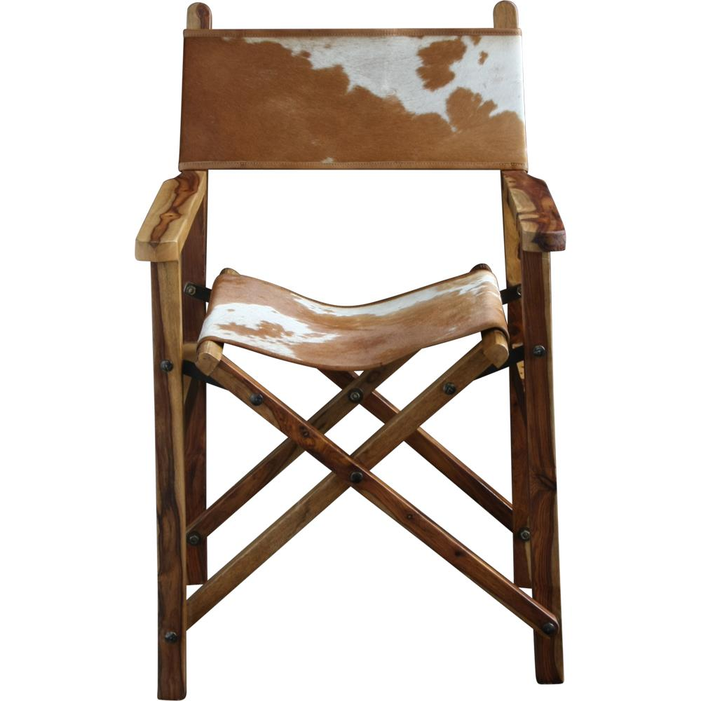 Directors Chair - Brown & White Cow / Natural