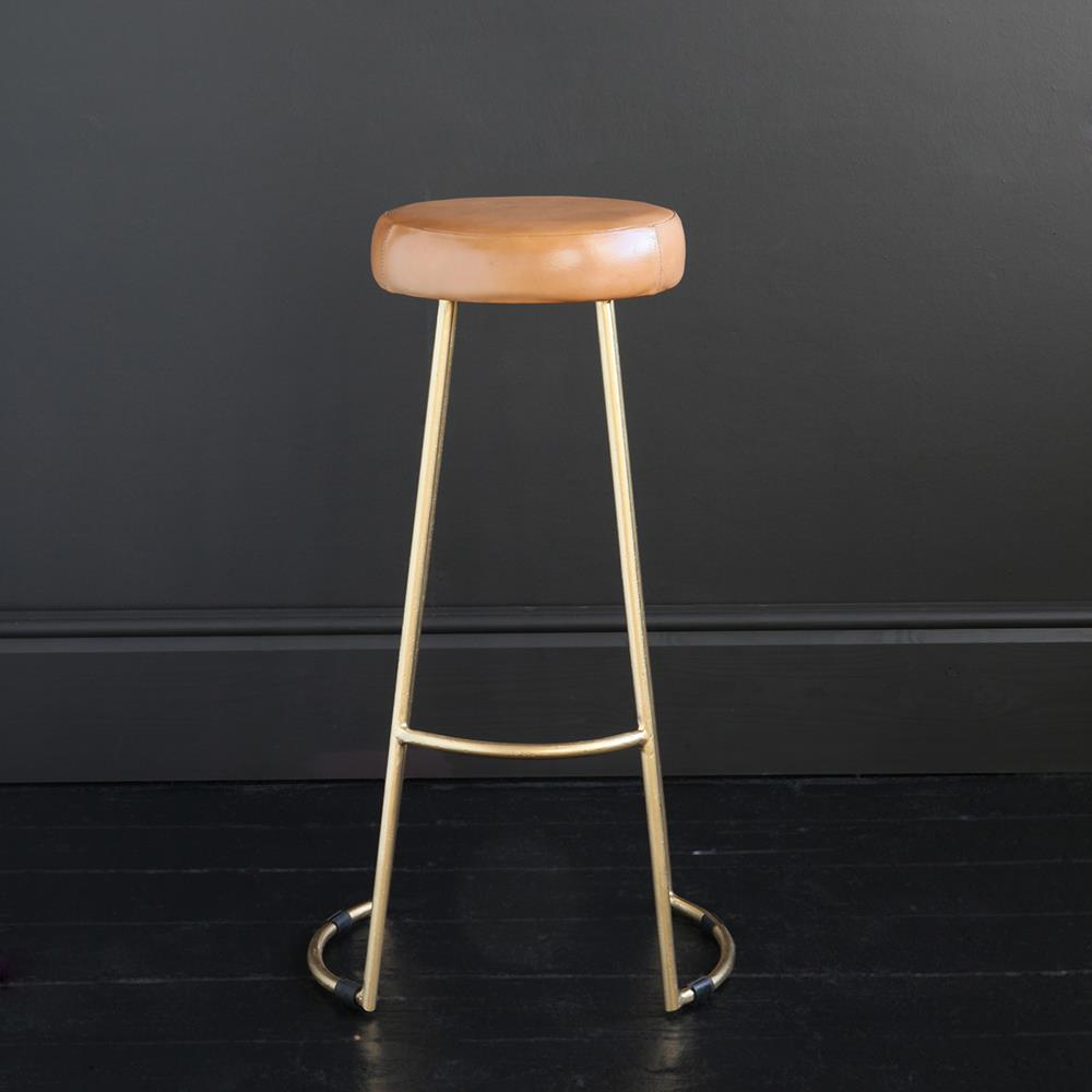 TAPAS INDUSTRIAL BAR STOOL CARAMEL LEATHER SEAT 78 CM GOLD BASE