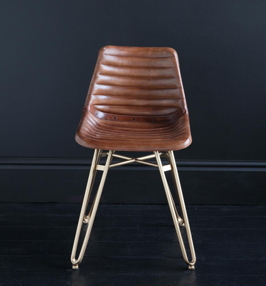HAIRPIN DINING CHAIR WITH BROWN RIBBED ROAD HOUSE SEAT AND GOLD BASE