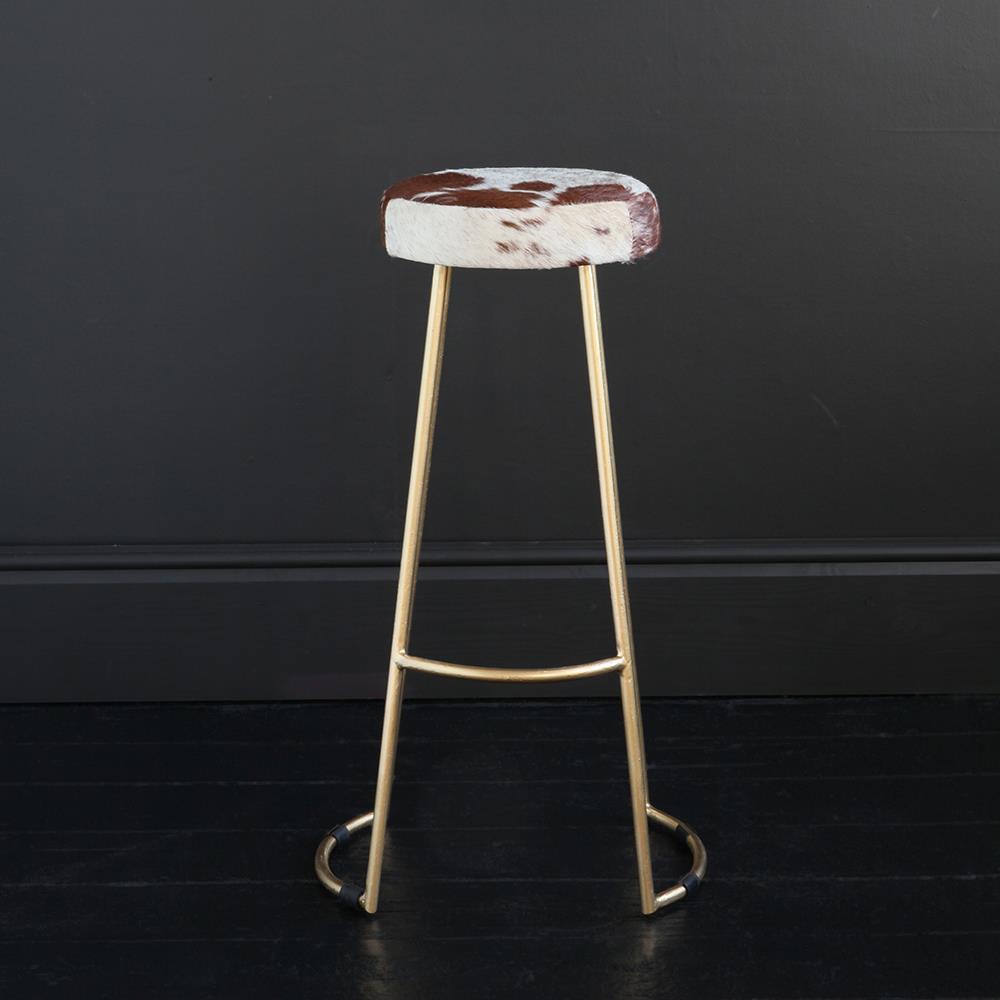 TAPAS INDUSTRIAL BAR STOOL BROWN & WHITE SEAT 75 CM GOLD BASE