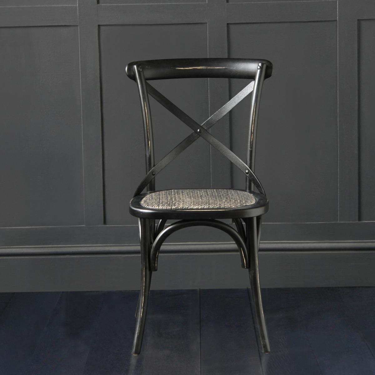 French Cross Back Bentwood Dining Chair, Café / Restaurant / Kitchen / Bistro, Metal Cross Back, Black