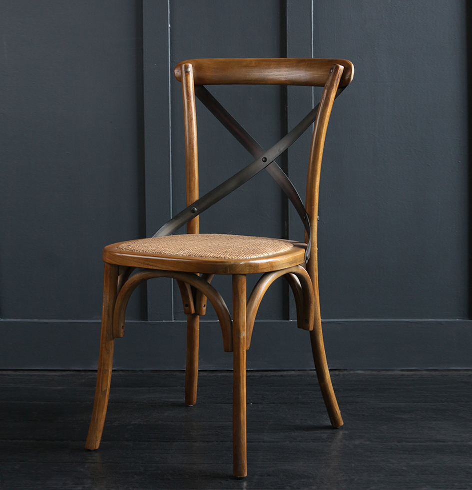 French Cross Back Bentwood Dining Chair, Café / Restaurant / Kitchen / Bistro, Metal Cross Back, Dark Oak