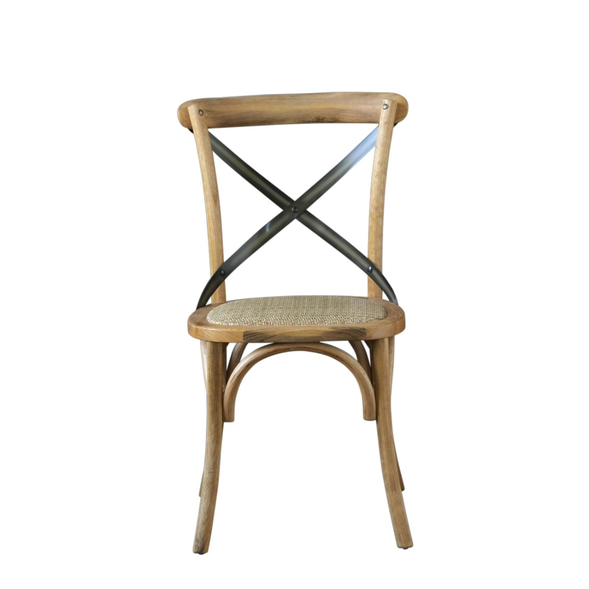 French Cross Back Bentwood Dining Chair, Café / Restaurant / Kitchen / Bistro, Metal Cross Back, Natural