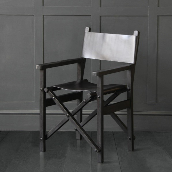 Directors Chair with Black Solid Wood Folding Frame and Leather Seat, Black Buffalo