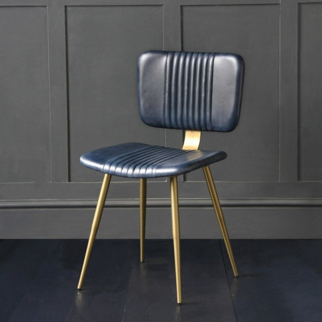 The Enfield Dining Chair In Blue Buffalo Leather with Brass Coloured Pencil Legs