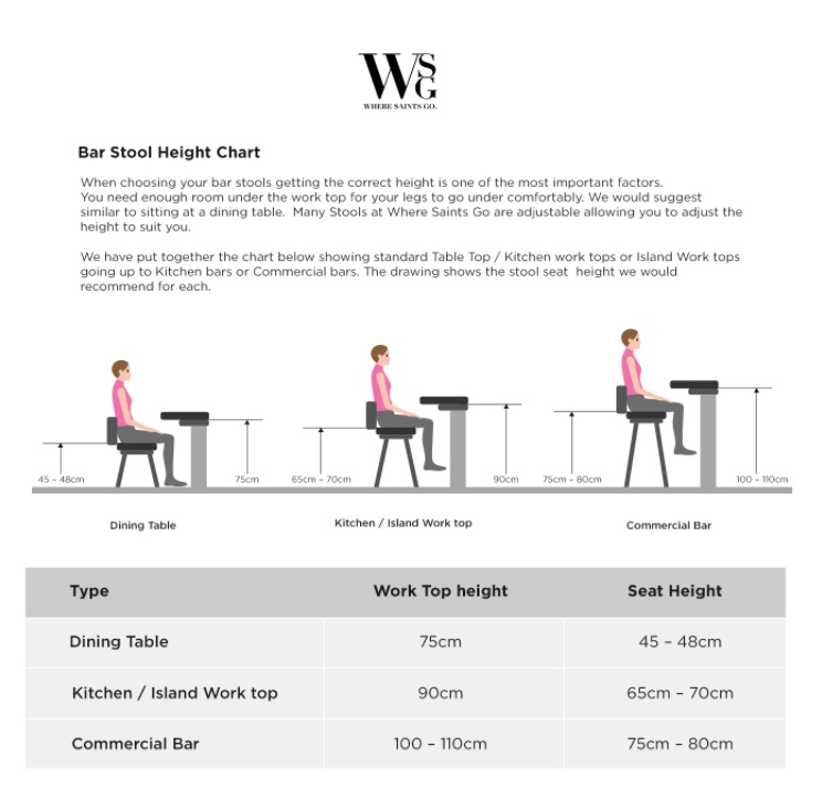 Our bar stool size chart helps you get those measurements sorted in a cinch!