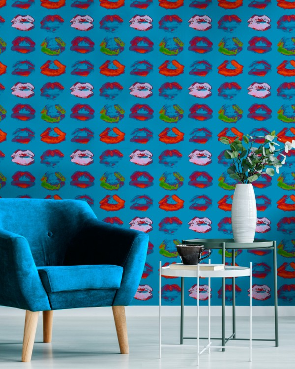 Express your inner artistic side with our striking Neon Kiss Blue Wallpaper