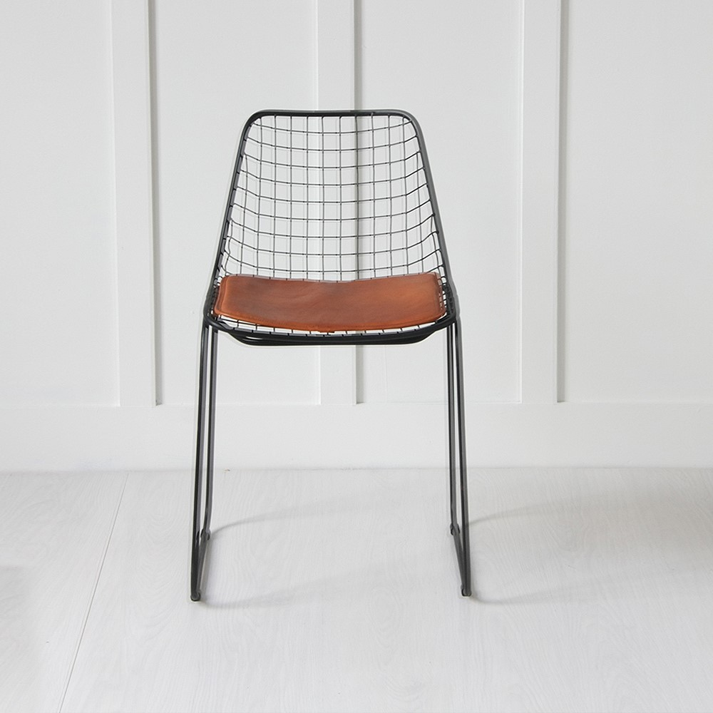 Black Wire Chair Tan Seat Pad
