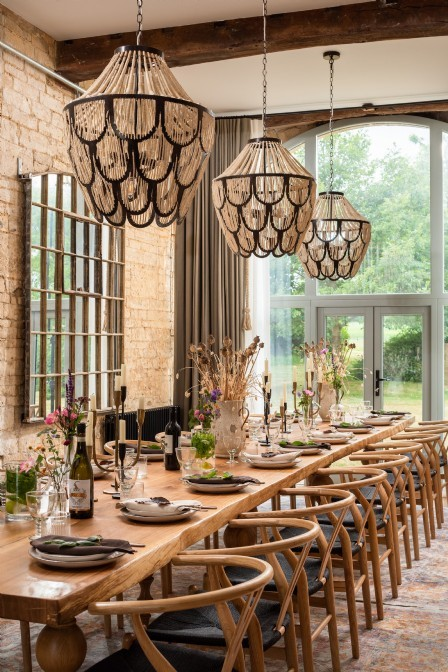 The dining room leads straight out to the big outdoors, perfect for summer meals